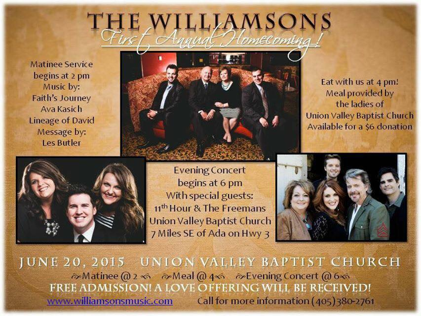 THE WILLIAMSONS Announce Their FIRST Homecoming Concert