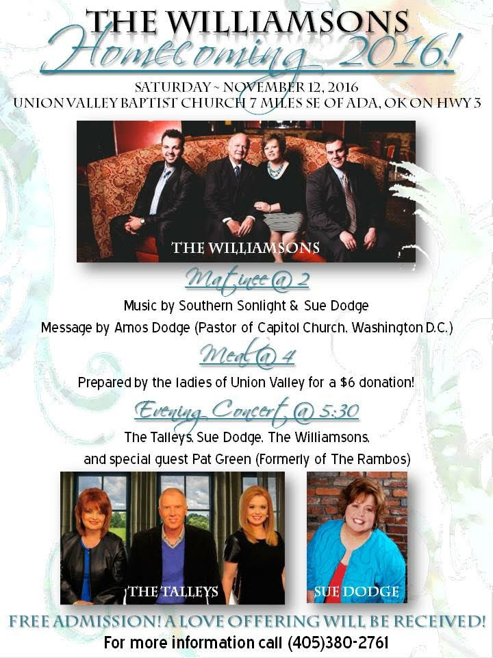 The Williamsons Announce Homecoming 2016